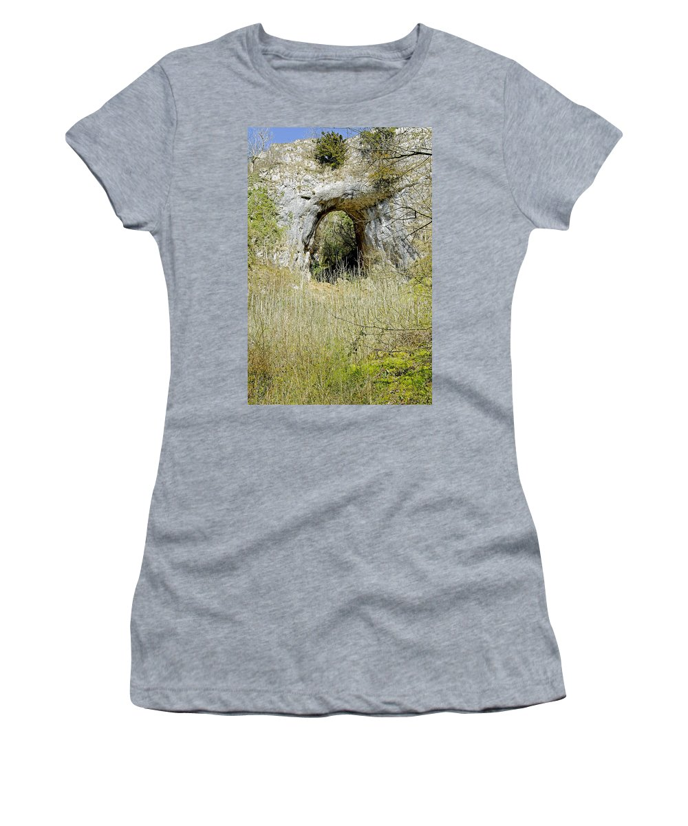 Dovedale Women's T-Shirt (Athletic Fit) featuring the photograph Natural Limestone Arch At Dove Valley by Rod Johnson
