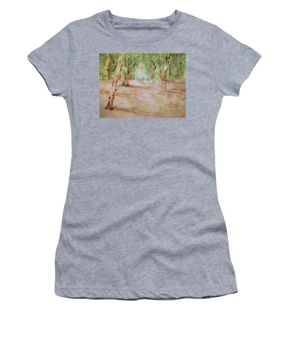 Watercolor Women's T-Shirt (Athletic Fit) featuring the painting Nature At The Nature Center by Debbie Lewis