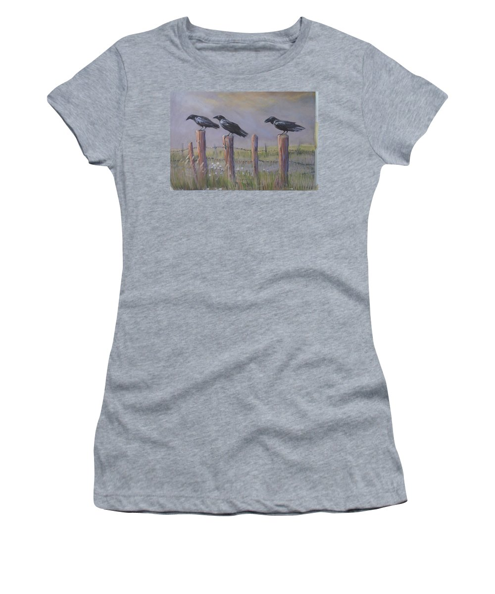 Crows Women's T-Shirt (Athletic Fit) featuring the painting Neighborhood Watch by Heather Coen