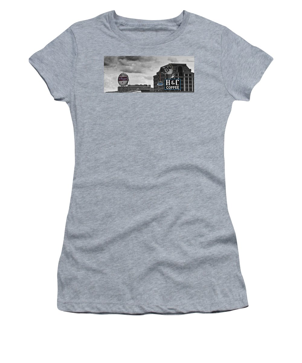 Roanoke Women's T-Shirt (Athletic Fit) featuring the photograph Neon Architecture Roanoke Virginia by Teresa Mucha