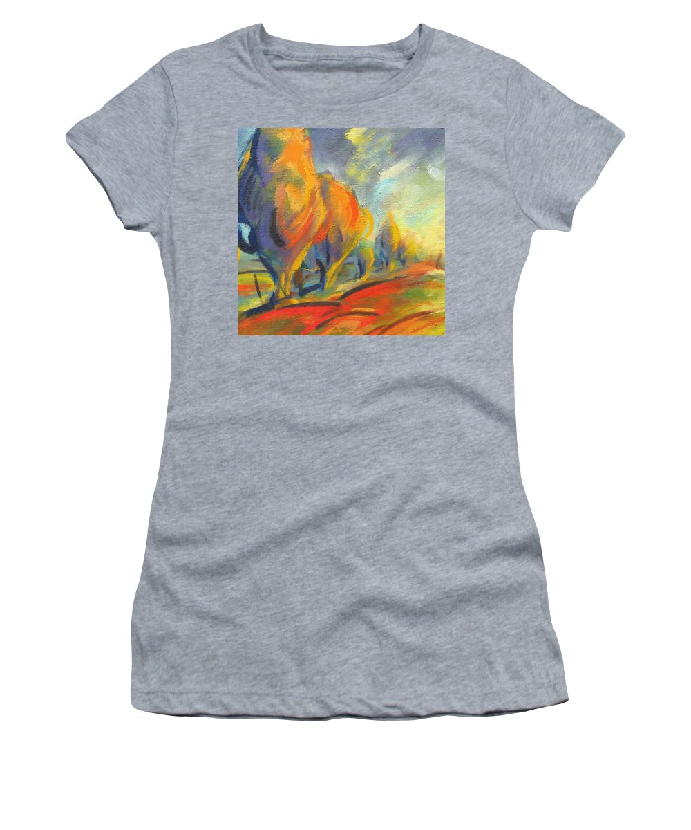 Orange Women's T-Shirt (Athletic Fit) featuring the painting New Beginning 2 by Konnie Kim