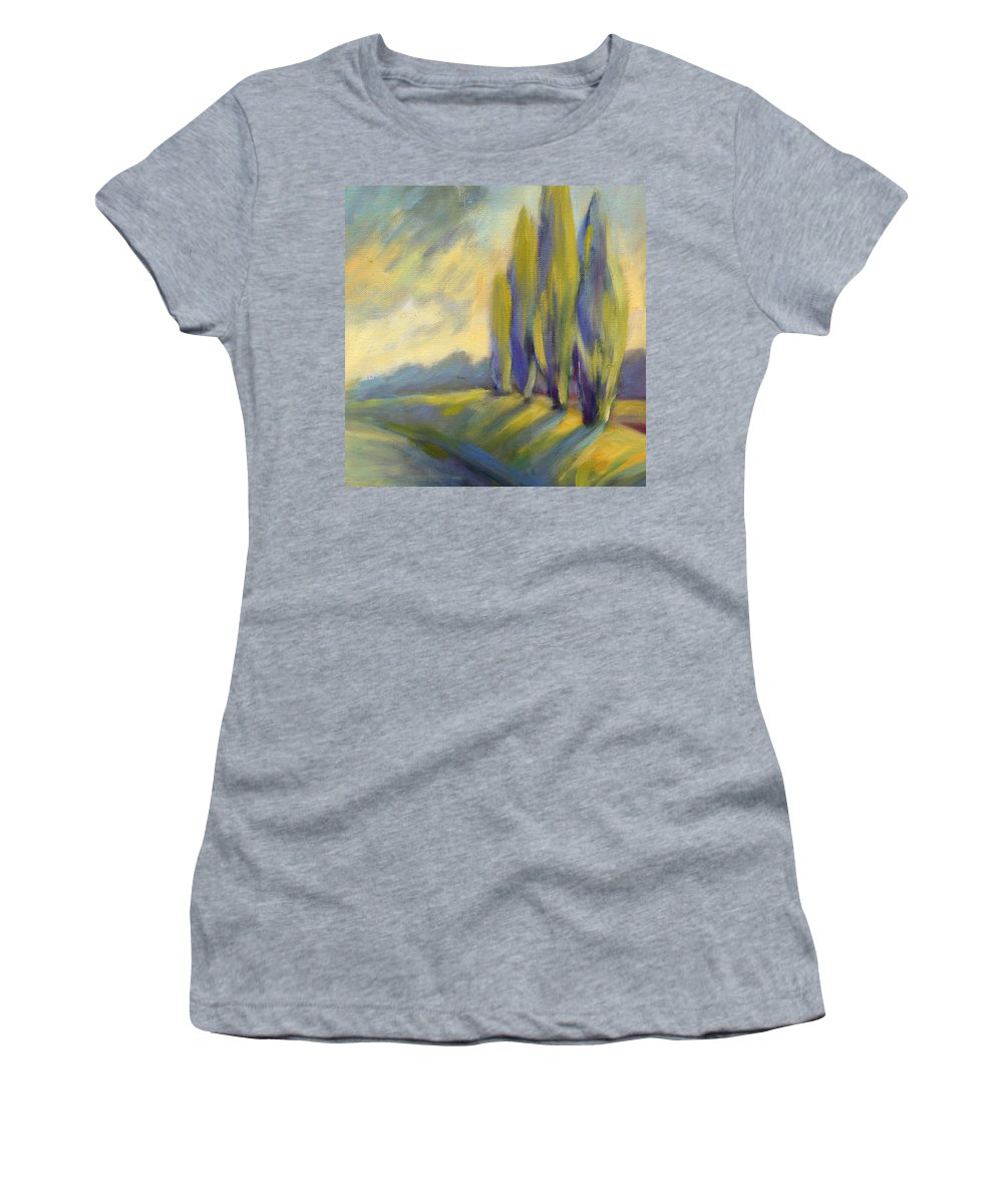 Trees Women's T-Shirt (Athletic Fit) featuring the painting New Beginning 3 by Konnie Kim