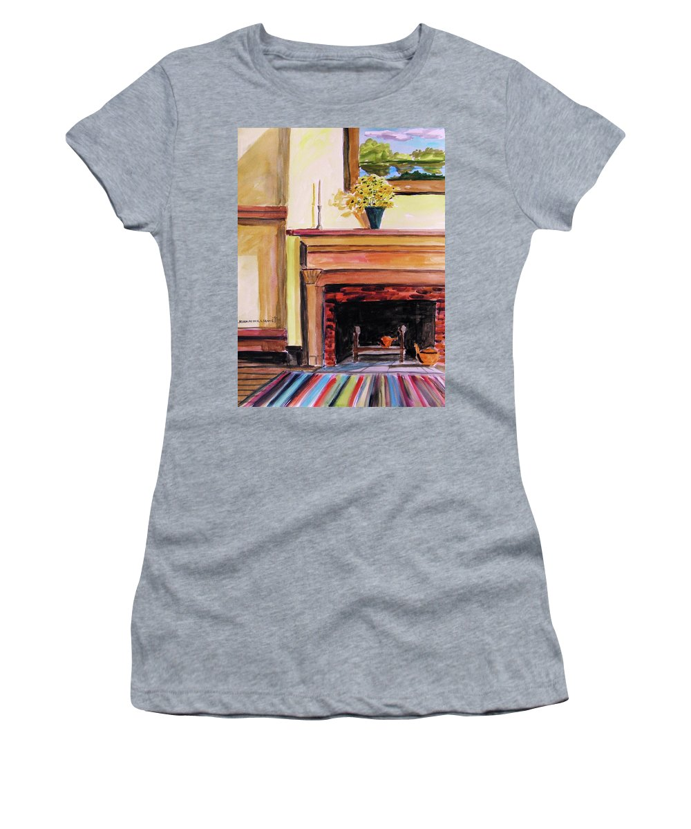 Watercolor Women's T-Shirt (Athletic Fit) featuring the painting New Painting Over The Mantel by John Williams