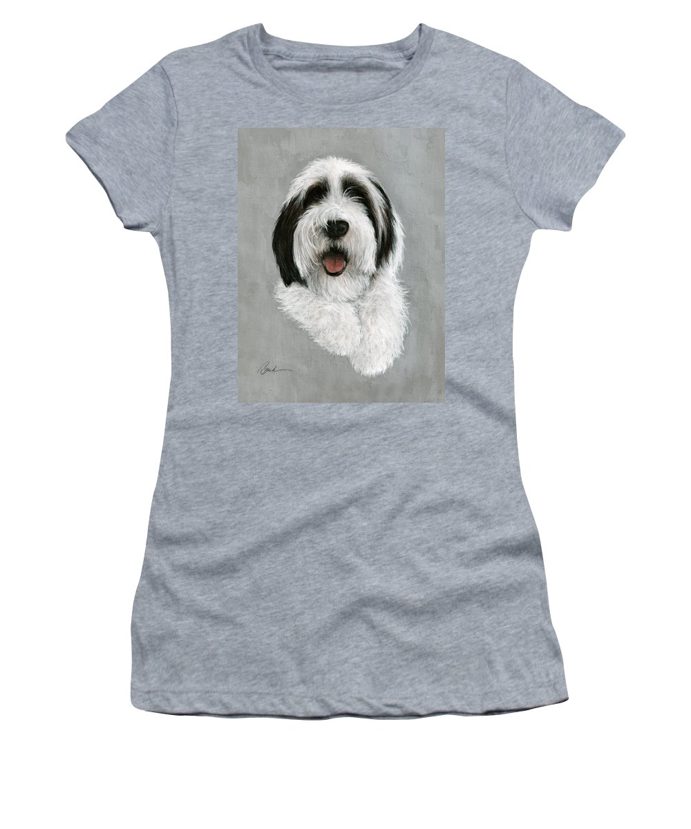 Dog Art Bruce Lennon Art Women's T-Shirt (Athletic Fit) featuring the painting New Pup by Bruce Lennon
