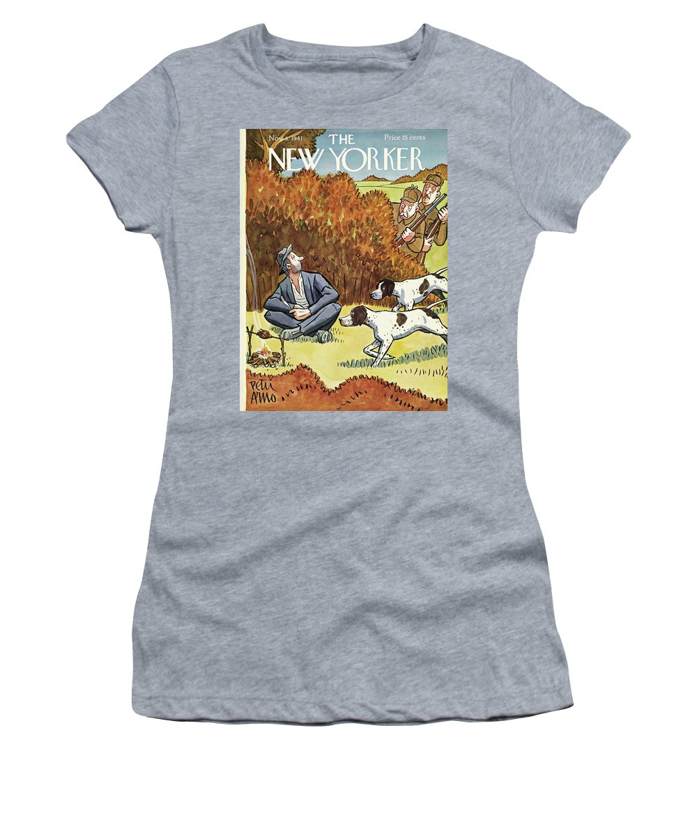 Hunters Women's T-Shirt featuring the painting New Yorker November 8 1941 by Peter Arno