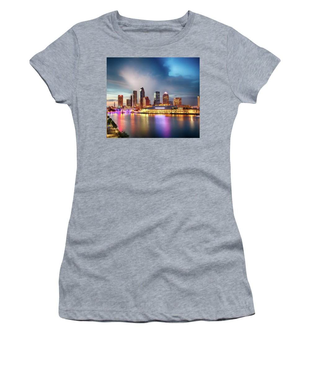 Night Women's T-Shirt (Athletic Fit) featuring the photograph Night Downtown River by Real Photo