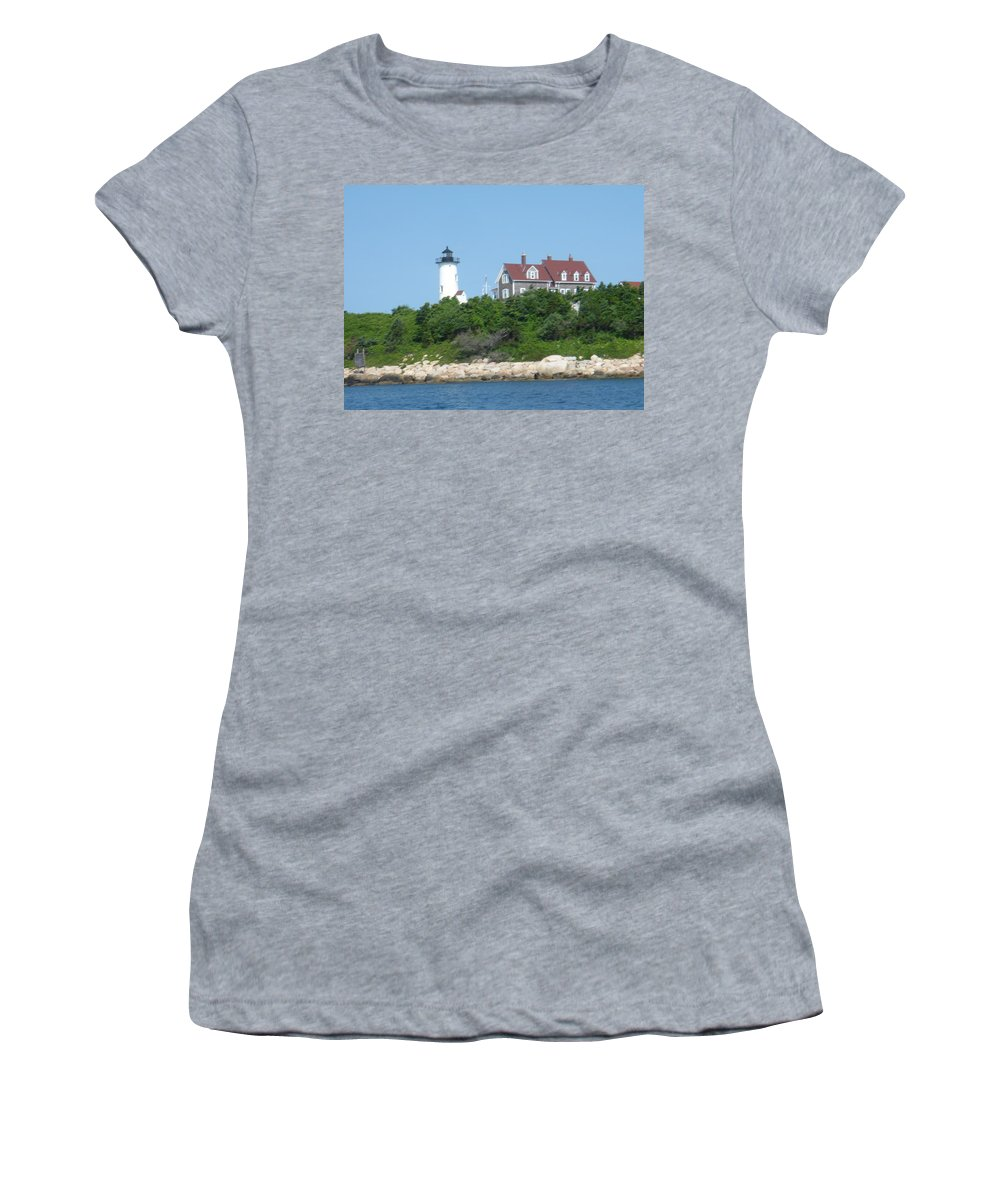 Woods Hole Women's T-Shirt (Athletic Fit) featuring the photograph Nobska Point Lighthouse by Donna Walsh