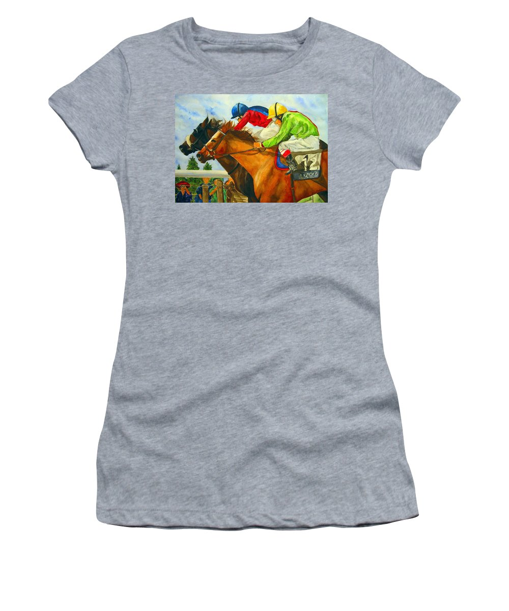Horse Women's T-Shirt (Athletic Fit) featuring the painting Nose To Nose by Jean Blackmer