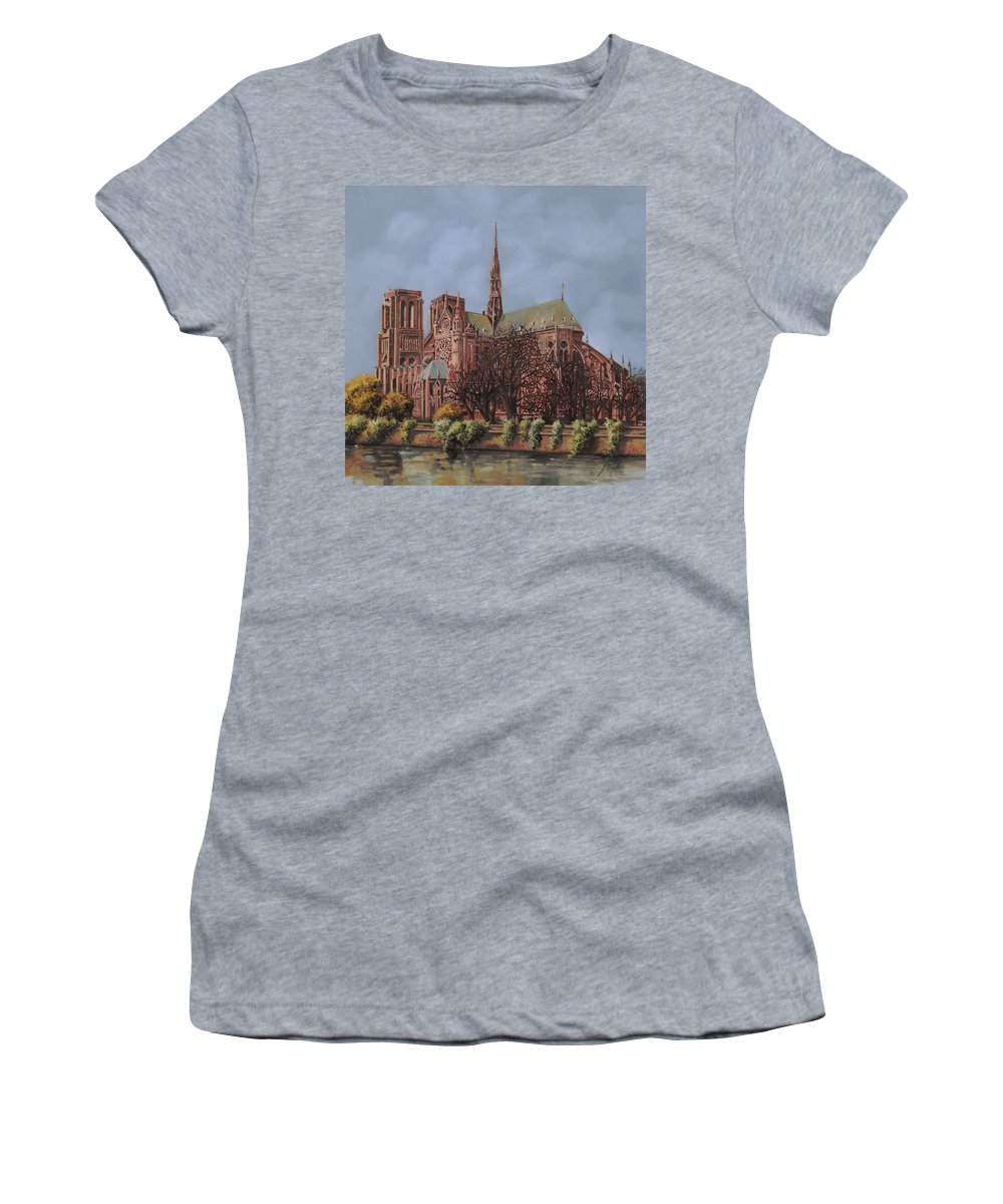 Paris Women's T-Shirt featuring the painting Notre-dame by Guido Borelli