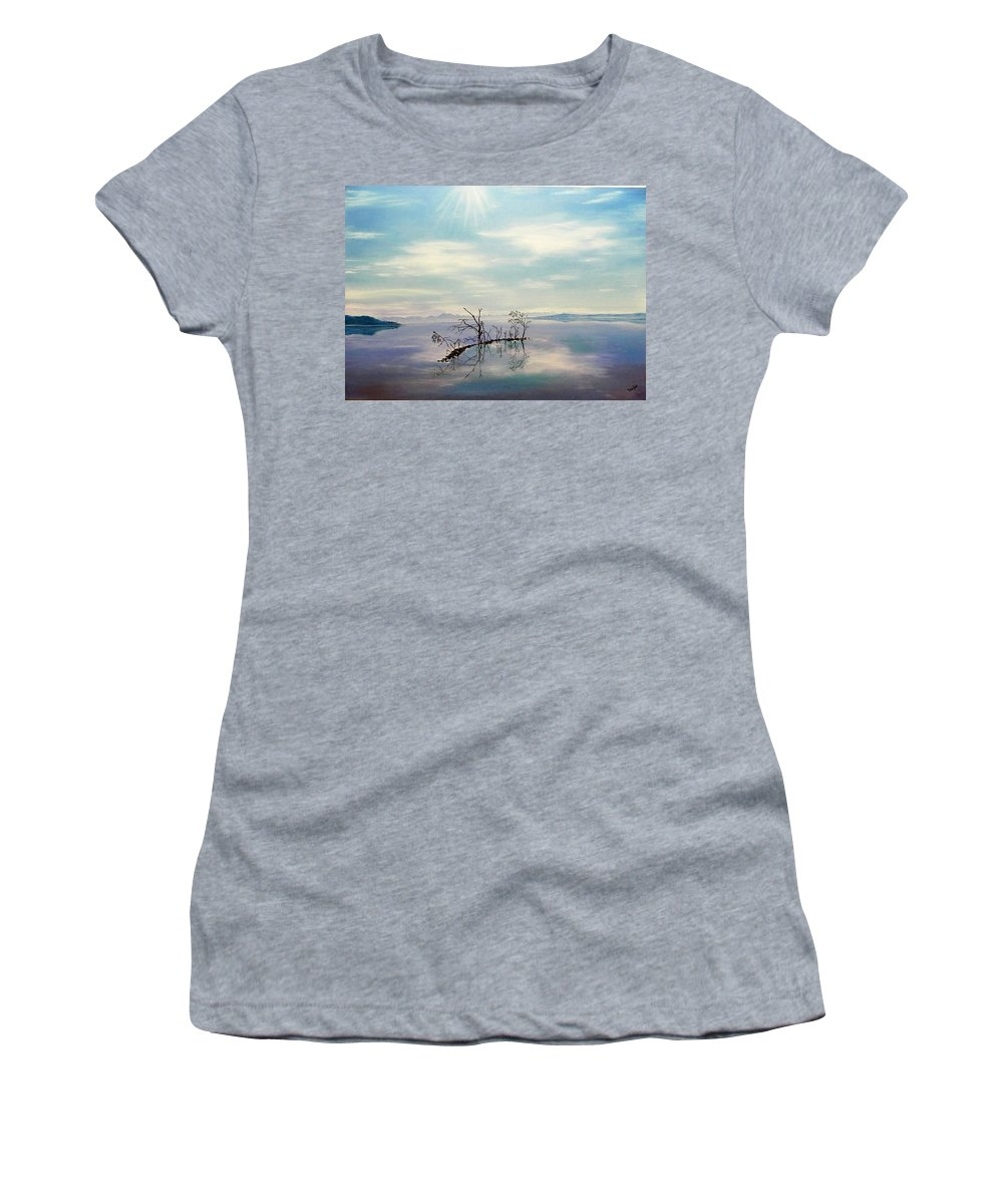 Late Novemeber In Bavaria Women's T-Shirt (Athletic Fit) featuring the painting November On A Bavarian Lake by Helmut Rottler