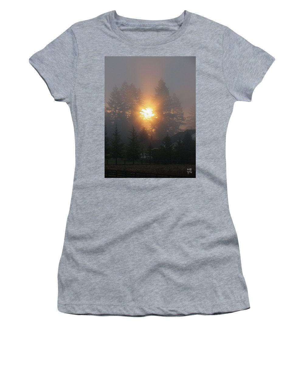 Sun Women's T-Shirt (Athletic Fit) featuring the photograph November Sunrise 2 by Shirley Heyn