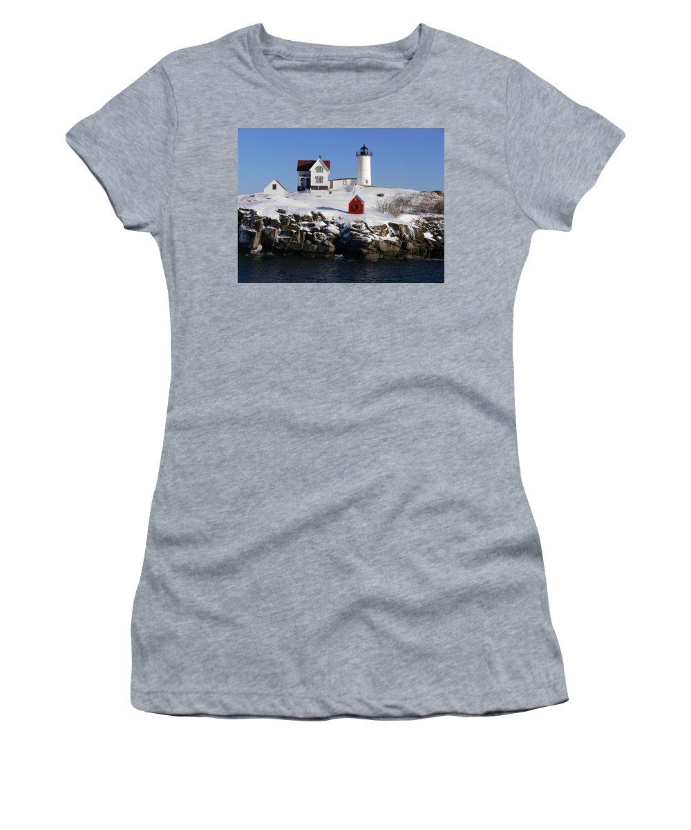 Nubbles Lighthouse Women's T-Shirt (Athletic Fit) featuring the photograph Nubbles Lighthouse by Nancie DeMellia