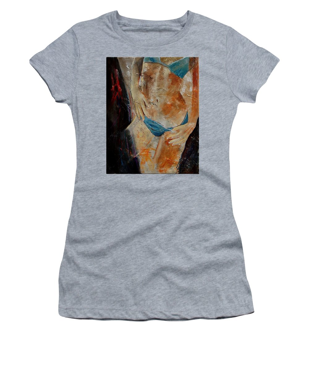 Girl Nude Women's T-Shirt (Athletic Fit) featuring the painting Nude 450608 by Pol Ledent