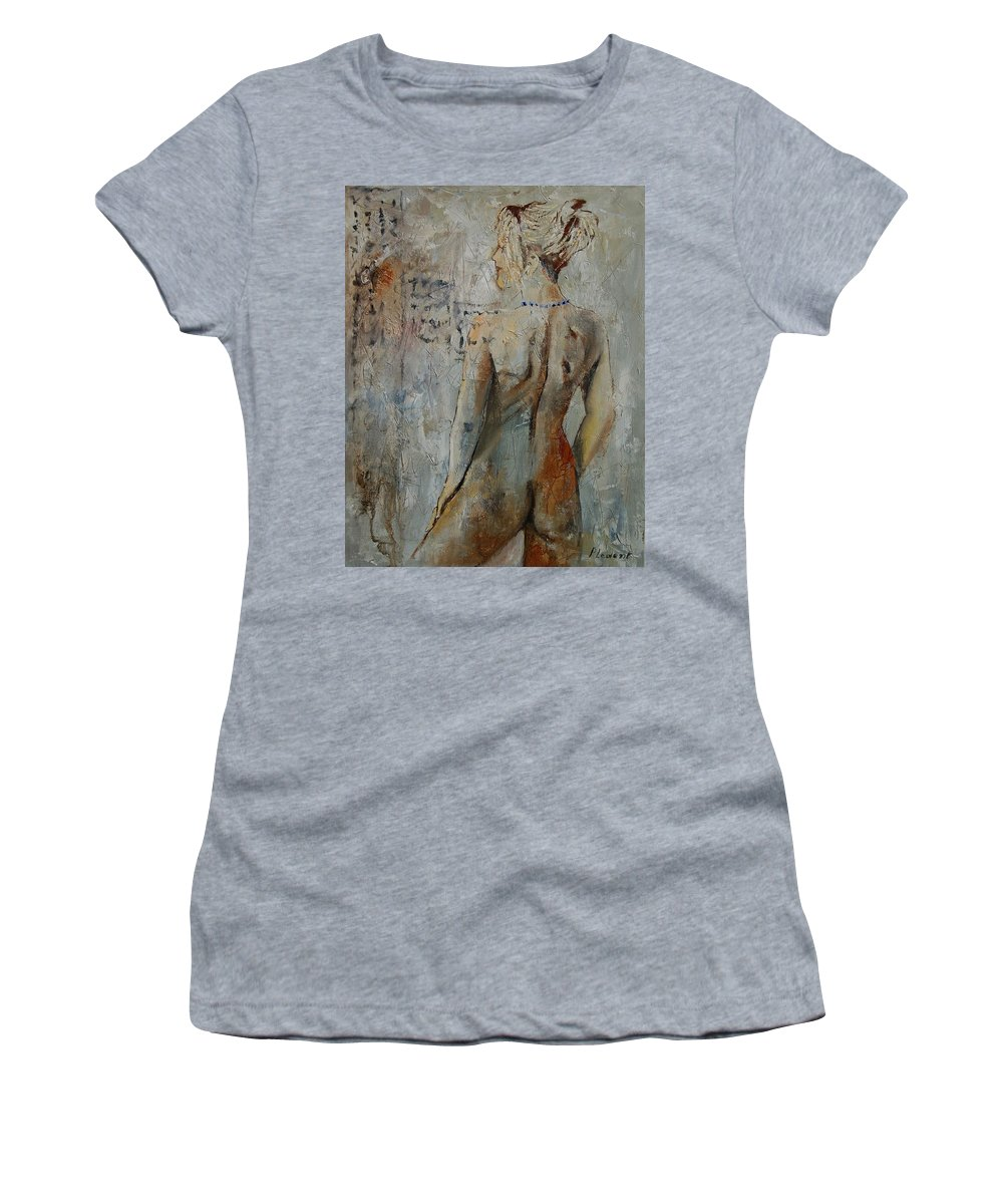 Girl Women's T-Shirt (Athletic Fit) featuring the painting Nude 459020 by Pol Ledent