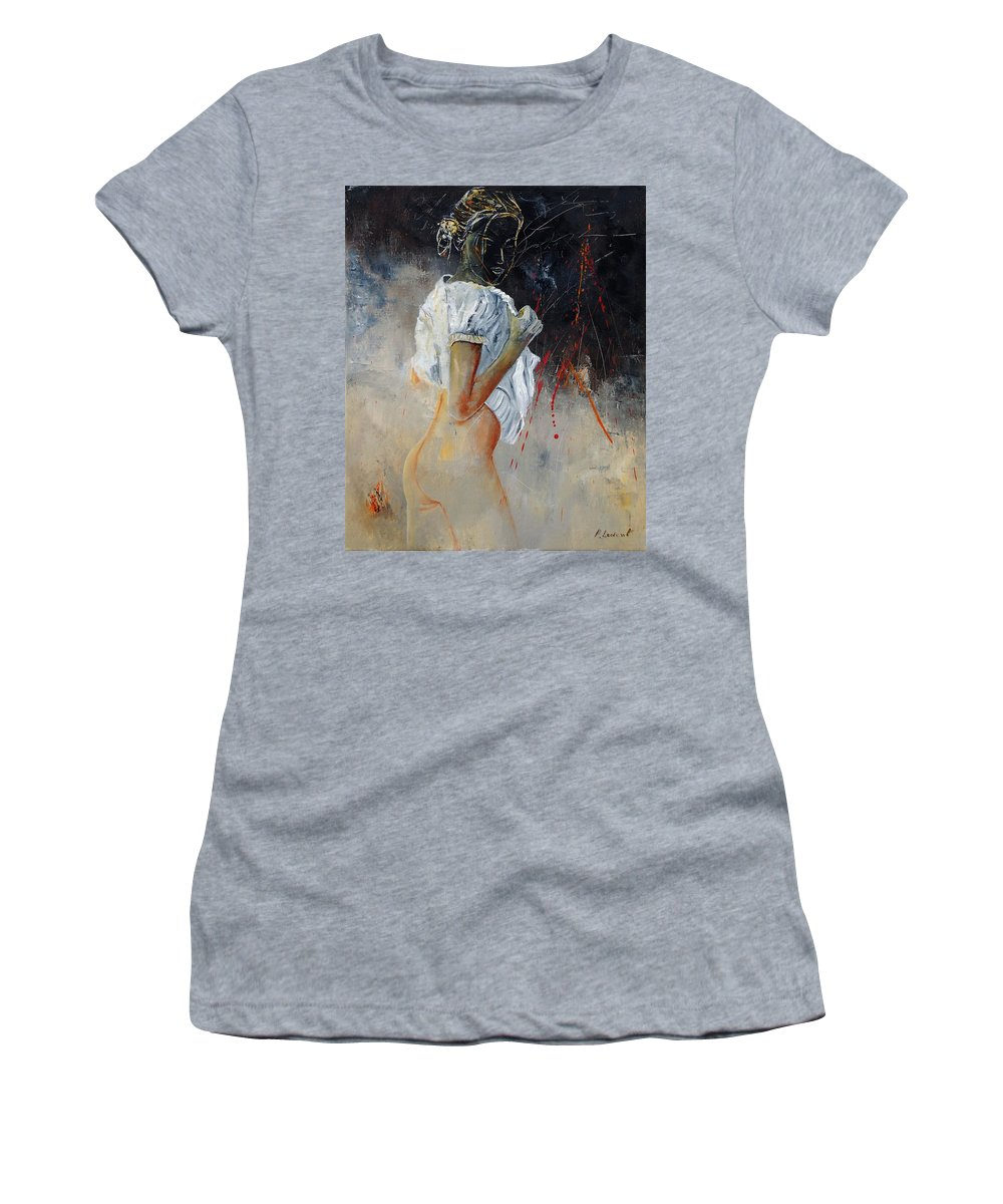 Nude Women's T-Shirt (Athletic Fit) featuring the painting Nude 560508 by Pol Ledent