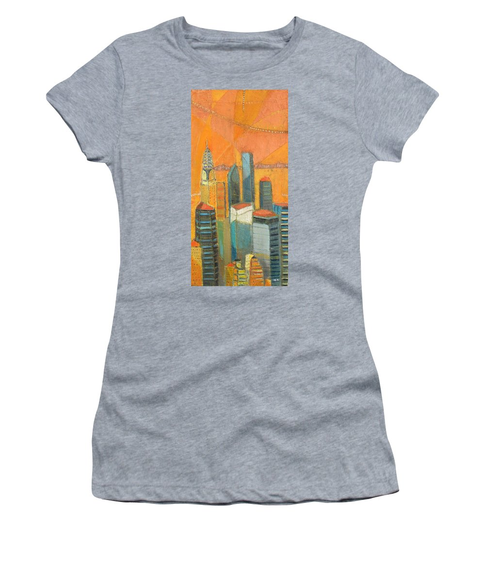Women's T-Shirt (Athletic Fit) featuring the painting Nyc In Orange by Habib Ayat