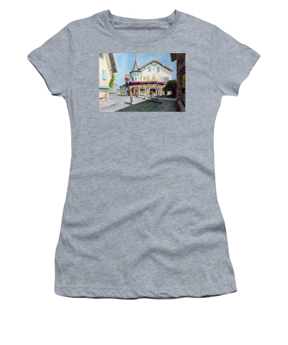 German Women's T-Shirt (Athletic Fit) featuring the painting Oberammergau Street by Sam Sidders