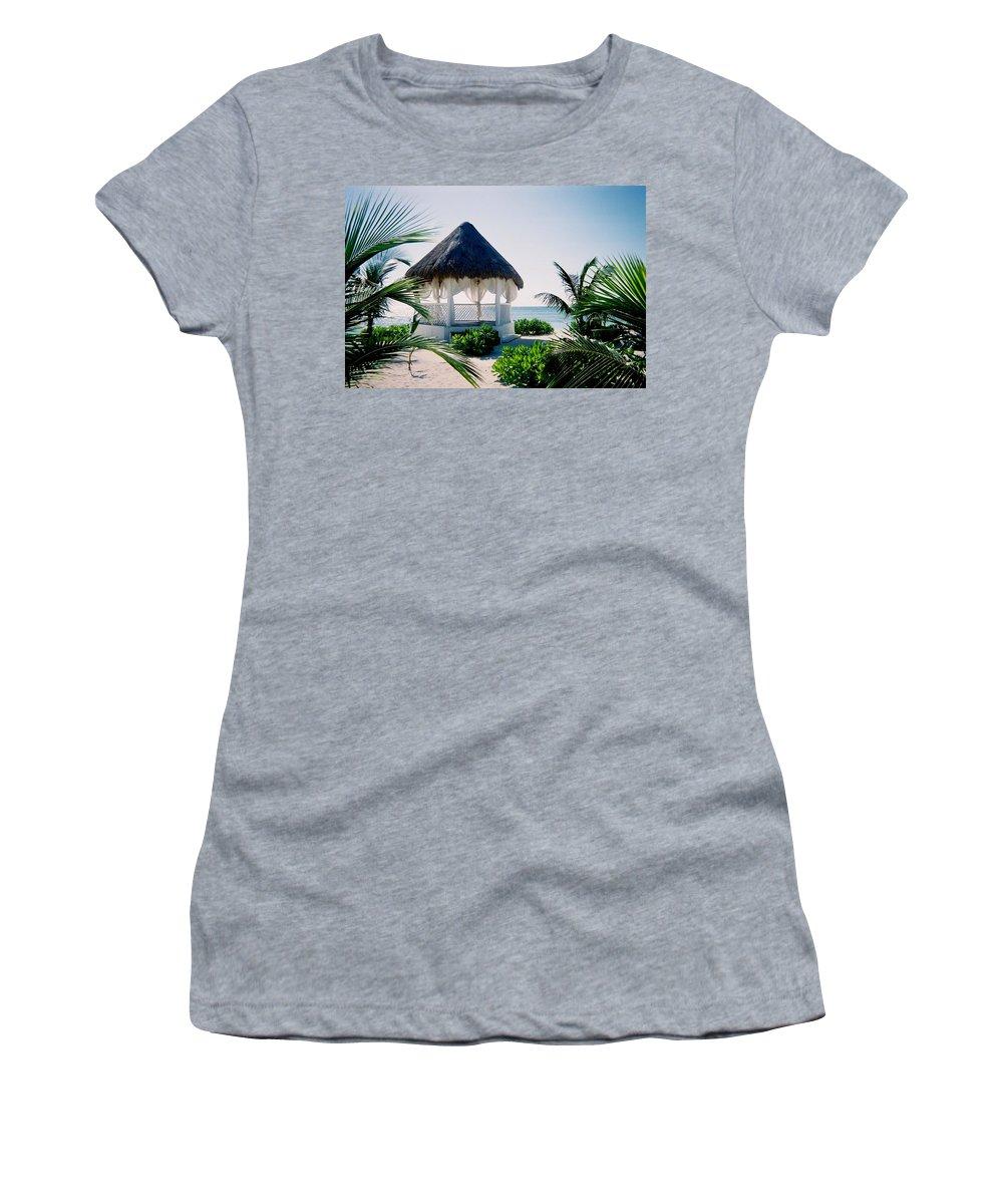Resort Women's T-Shirt (Athletic Fit) featuring the photograph Ocean Gazebo by Anita Burgermeister