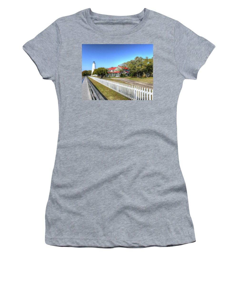 Currituck Beach Women's T-Shirt (Athletic Fit) featuring the photograph Ocracoke Lighthouse, Ocracoke Island, Nc by Greg Hager