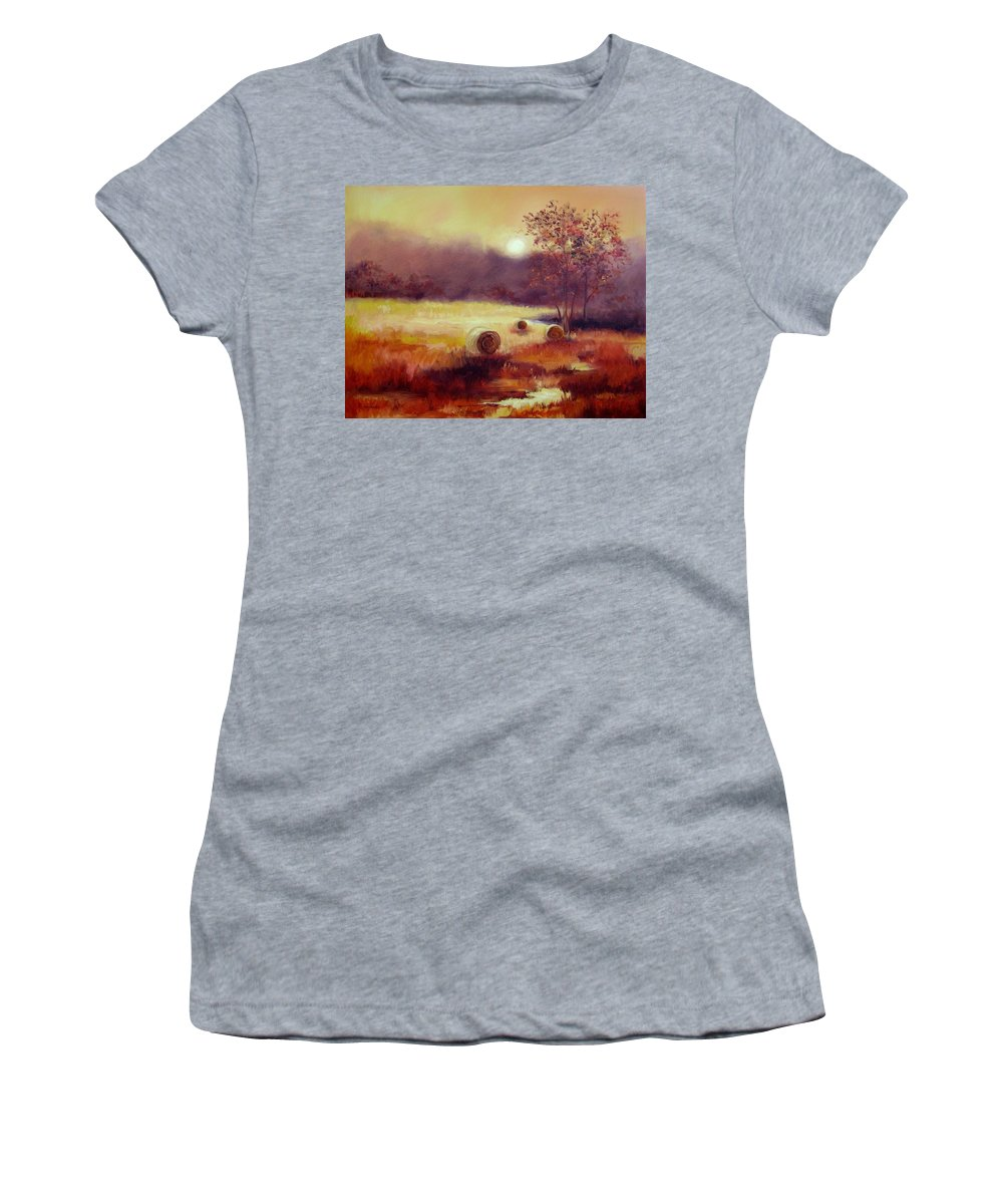 Fall Landscapes Women's T-Shirt featuring the painting October Pasture by Ginger Concepcion