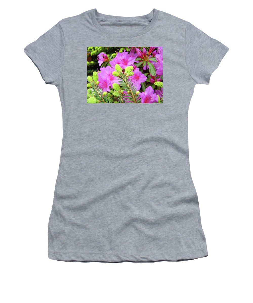 Office Women's T-Shirt (Athletic Fit) featuring the photograph Office Art Pine Conifer Pink Azalea Flowers 38 Azaleas Giclee Art Prints Baslee Troutman by Baslee Troutman