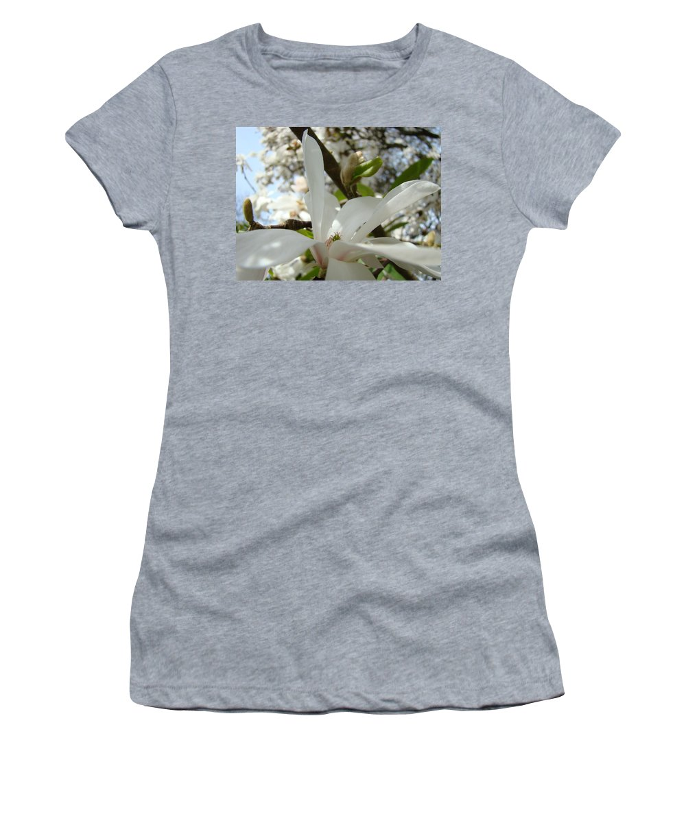 Magnolia Women's T-Shirt (Athletic Fit) featuring the photograph Office Art Prints White Magnolia Flower 6 Giclee Prints Baslee Troutman by Baslee Troutman