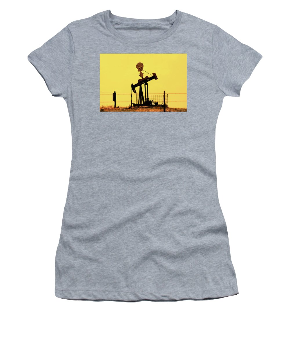 Oil Donkey Women's T-Shirt (Athletic Fit) featuring the photograph Oil Baron Tweety by Douglas Barnard