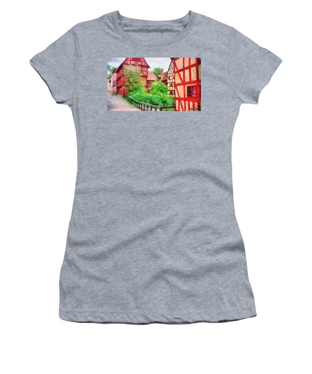 Aarhus Women's T-Shirt featuring the painting Old Aarhus by Jeffrey Kolker