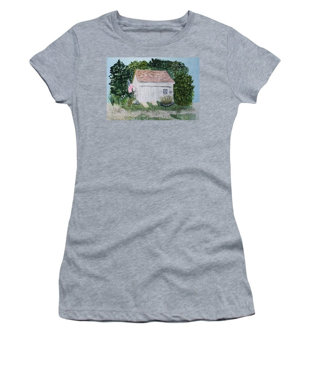 Barn Women's T-Shirt (Athletic Fit) featuring the painting Old Barn In Eastham Ma by Donna Walsh
