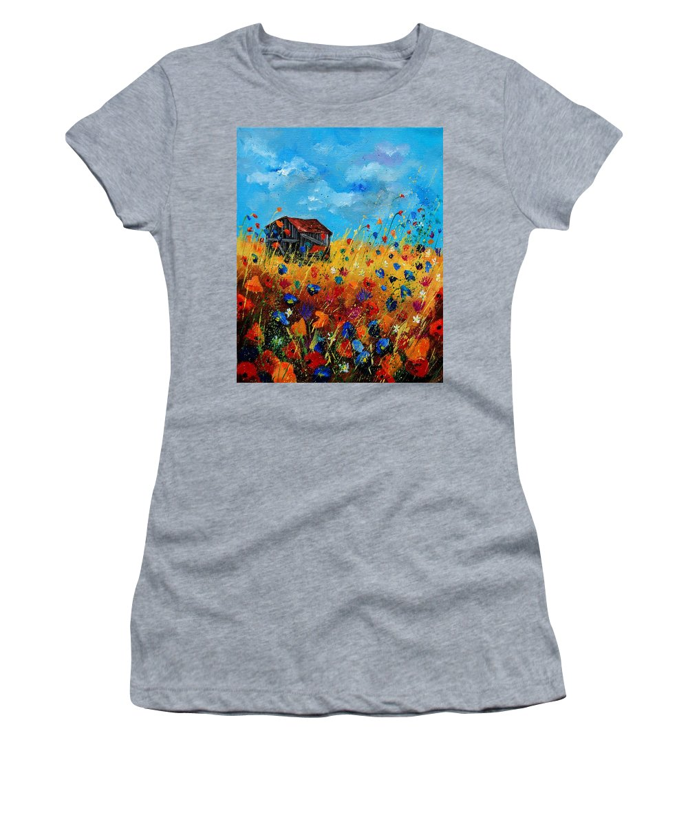 Poppies Women's T-Shirt (Athletic Fit) featuring the painting Old Barn by Pol Ledent
