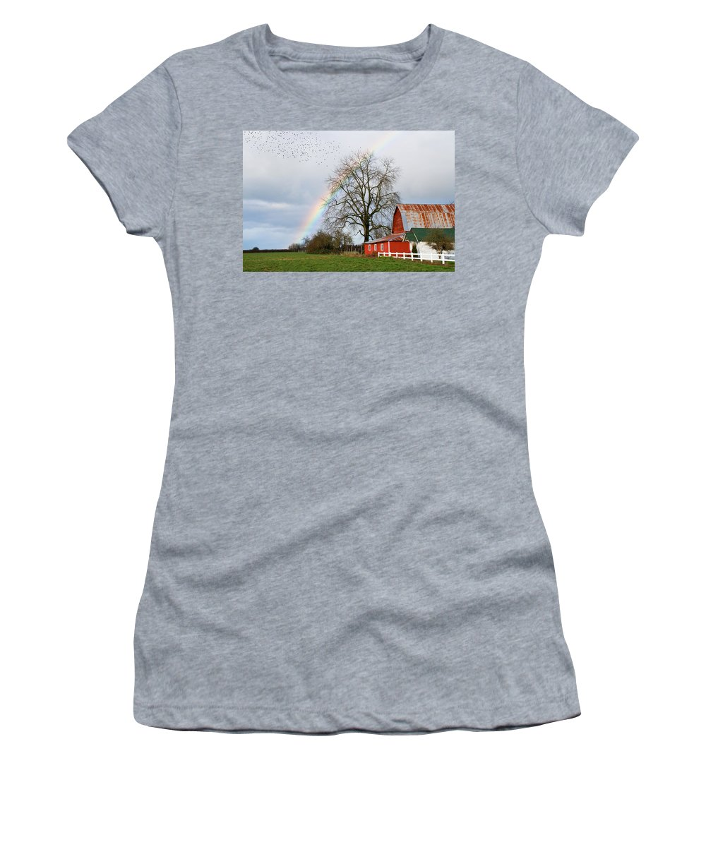 Flying Women's T-Shirt (Athletic Fit) featuring the photograph Old Barn Rainbow by Randall Ingalls