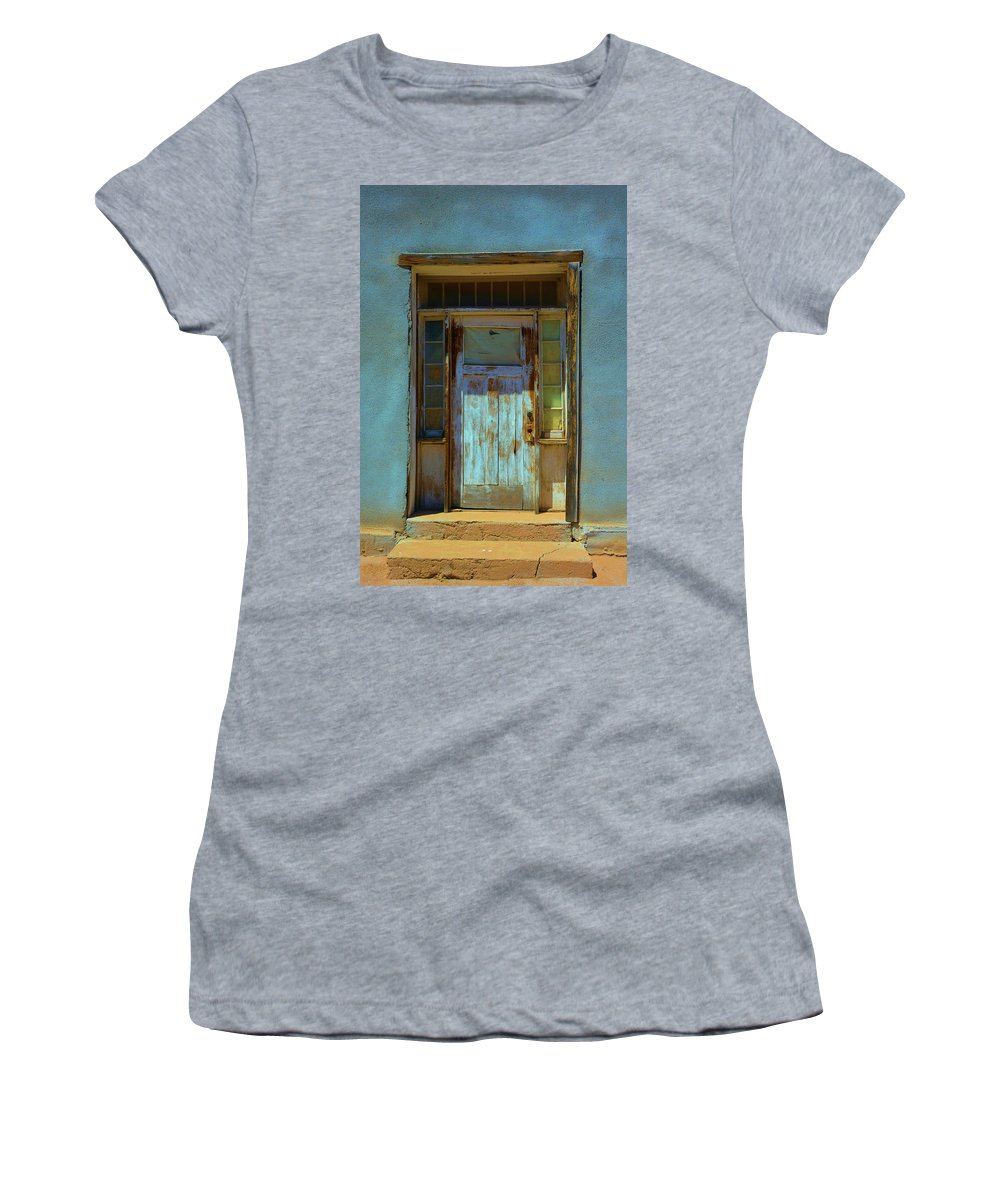 Adobe Women's T-Shirt featuring the photograph Old Blue Door by Richard Jenkins