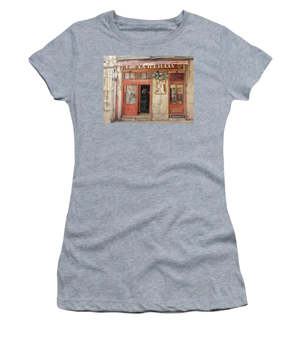 Cafe Women's T-Shirt (Athletic Fit) featuring the painting Old Cafe- Santander Spain by Tomas Castano