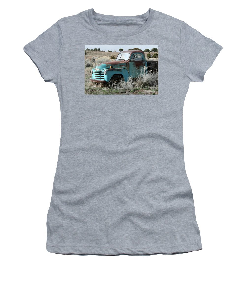 Antique Women's T-Shirt featuring the photograph Old Chevy Farm Truck In The Field by CheyAnne Sexton