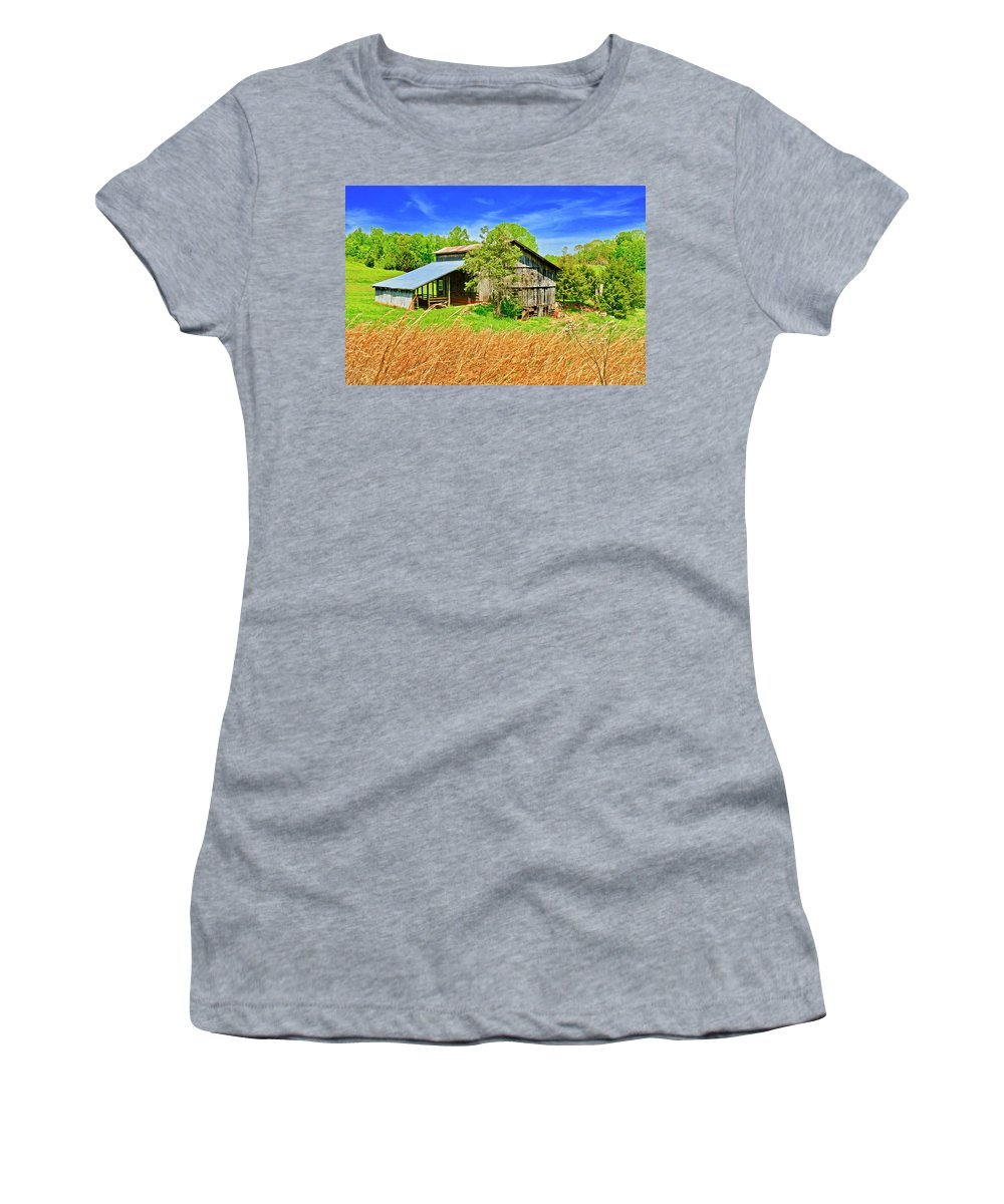 Old Barn; Virginia; Wheat; Hay; Golden Tall Grass; Blue Sky; Rolling Hill; Countryside; Landscapes Women's T-Shirt featuring the photograph Old Country Barn by The James Roney Collection