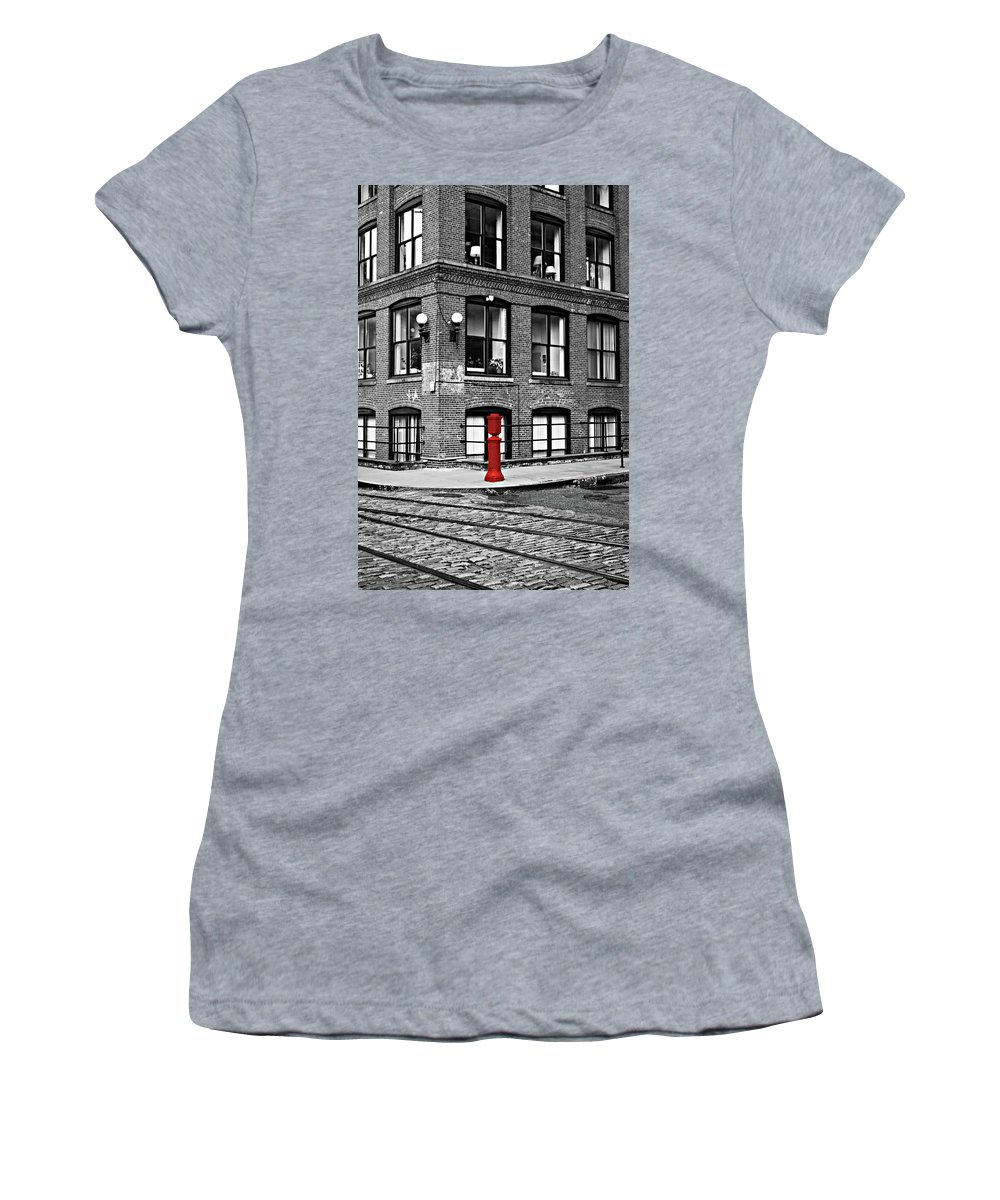 Brooklyn Women's T-Shirt (Athletic Fit) featuring the photograph Old Fire Hydrant In Dumbo Brooklyn by Randy Aveille