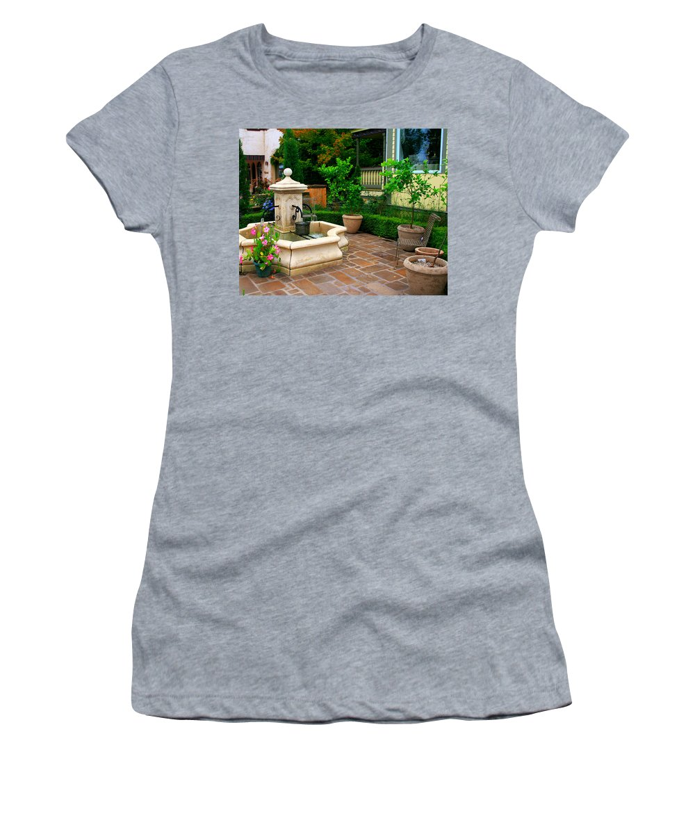 Courtyard Women's T-Shirt (Athletic Fit) featuring the photograph Old Fountain by Perry Webster