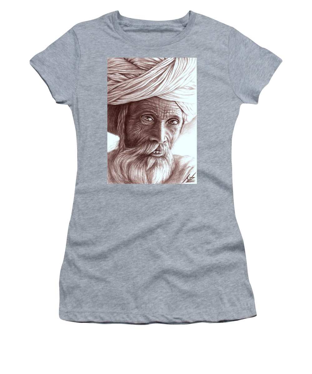 Man Women's T-Shirt (Athletic Fit) featuring the drawing Old Indian Man by Nicole Zeug