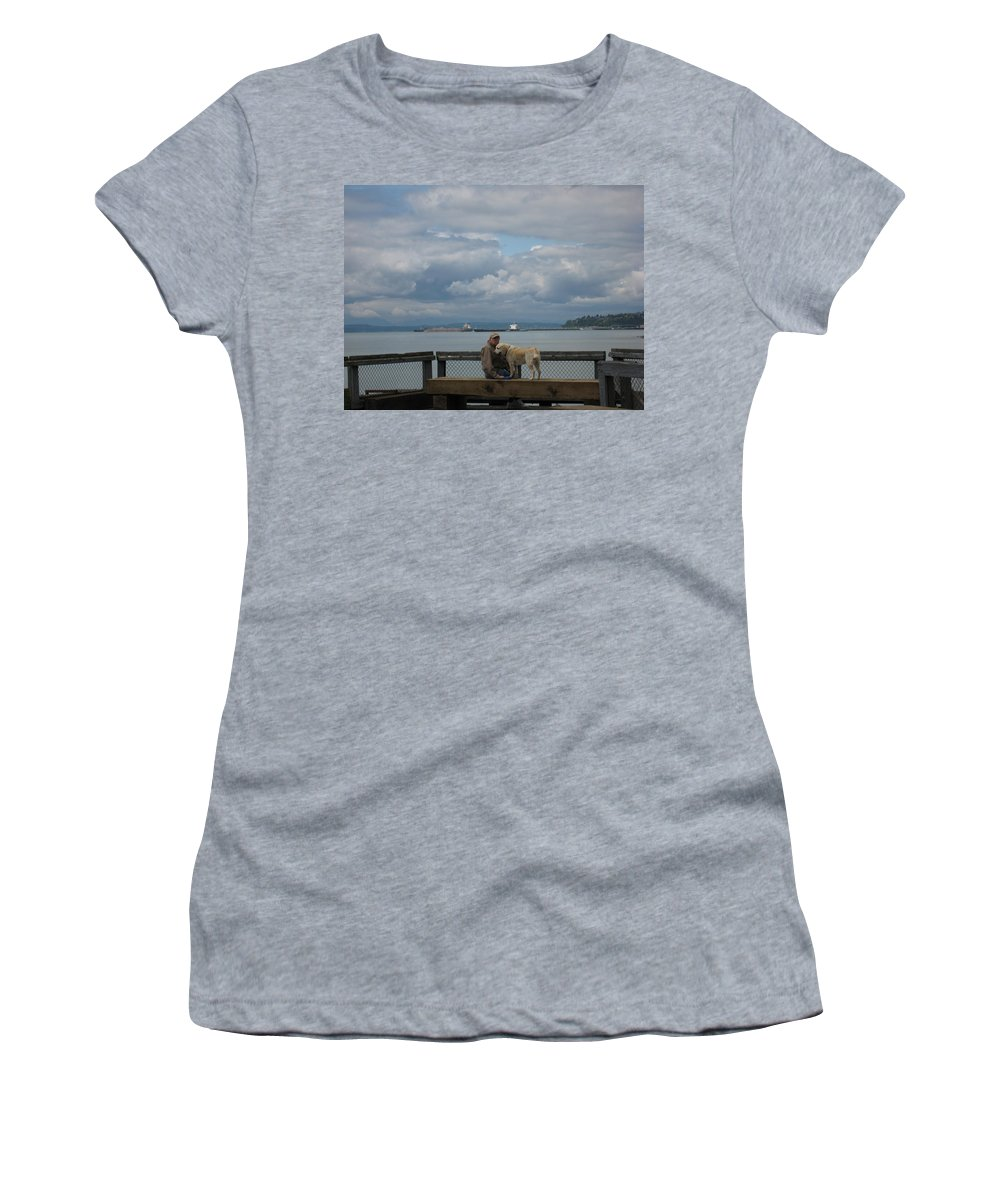 Old Man Women's T-Shirt (Athletic Fit) featuring the photograph Old Man And His Dog by Lori Tambakis