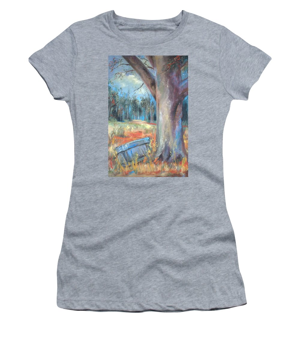 Country Scenes Women's T-Shirt (Athletic Fit) featuring the painting Old Times by Ginger Concepcion