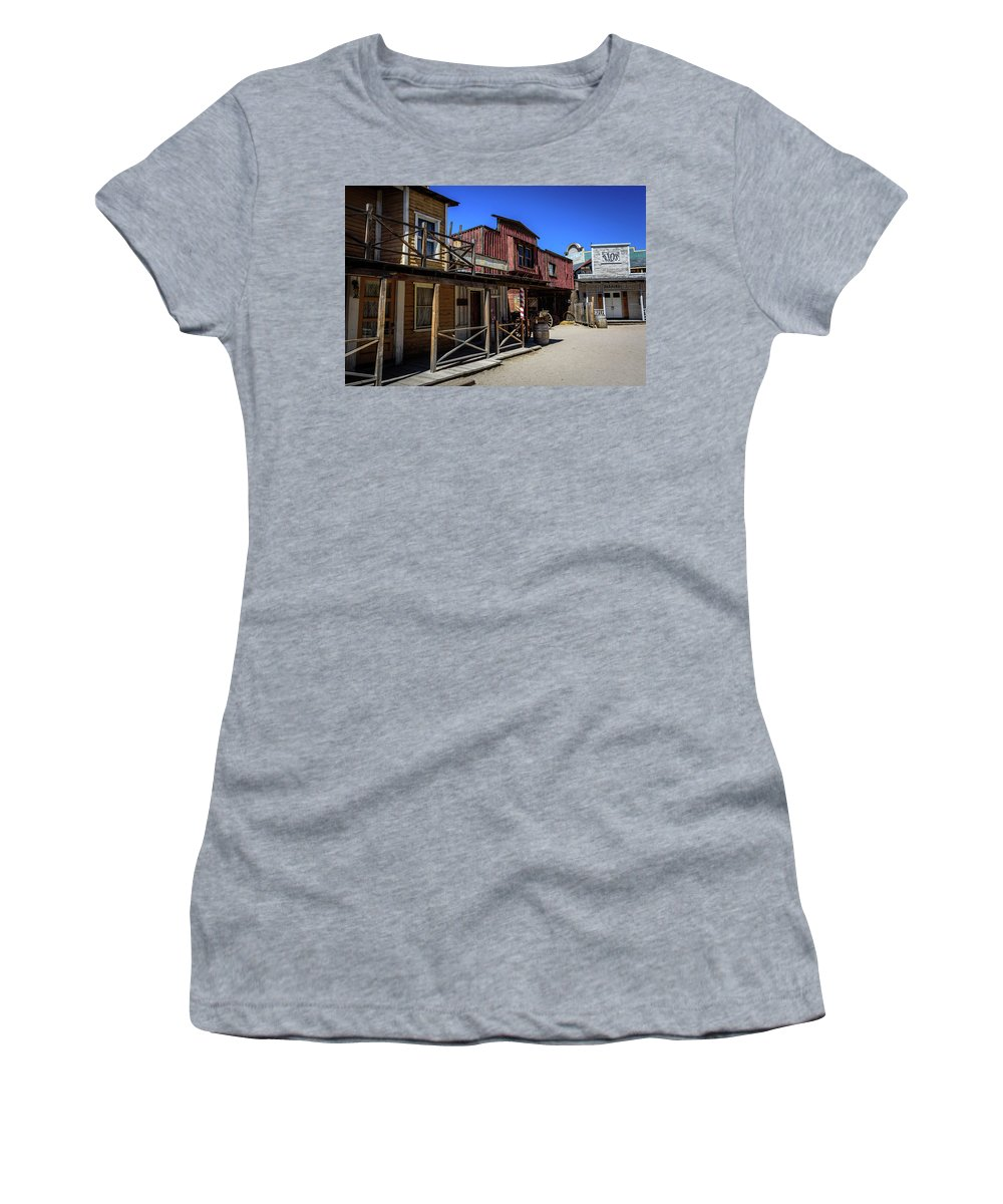 Old Tucson Women's T-Shirt (Athletic Fit) featuring the photograph Old Tucson Movie Studio - Arizona by Jon Berghoff