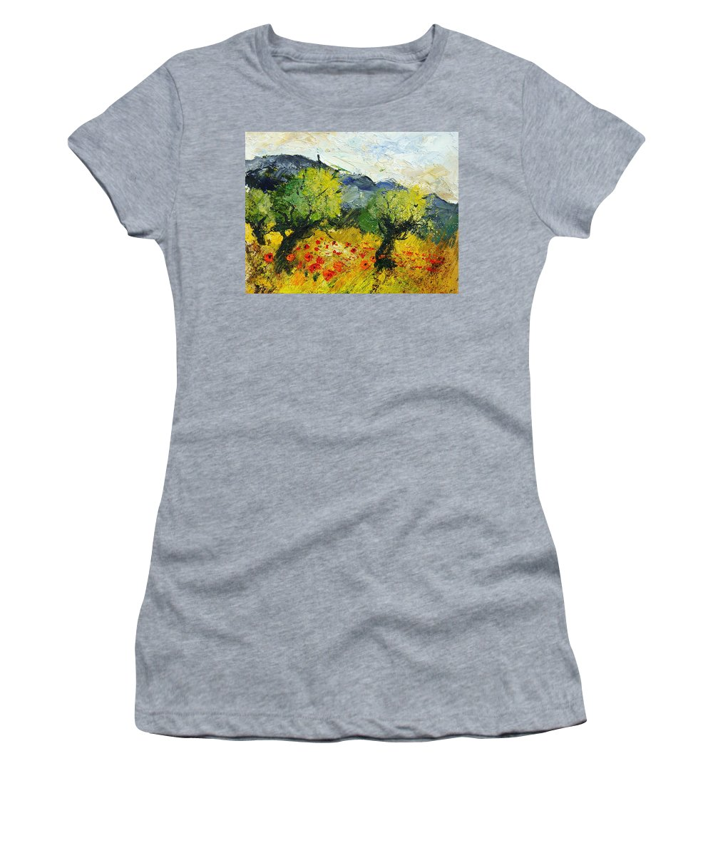 Flowers Women's T-Shirt (Athletic Fit) featuring the painting Olive Trees And Poppies by Pol Ledent