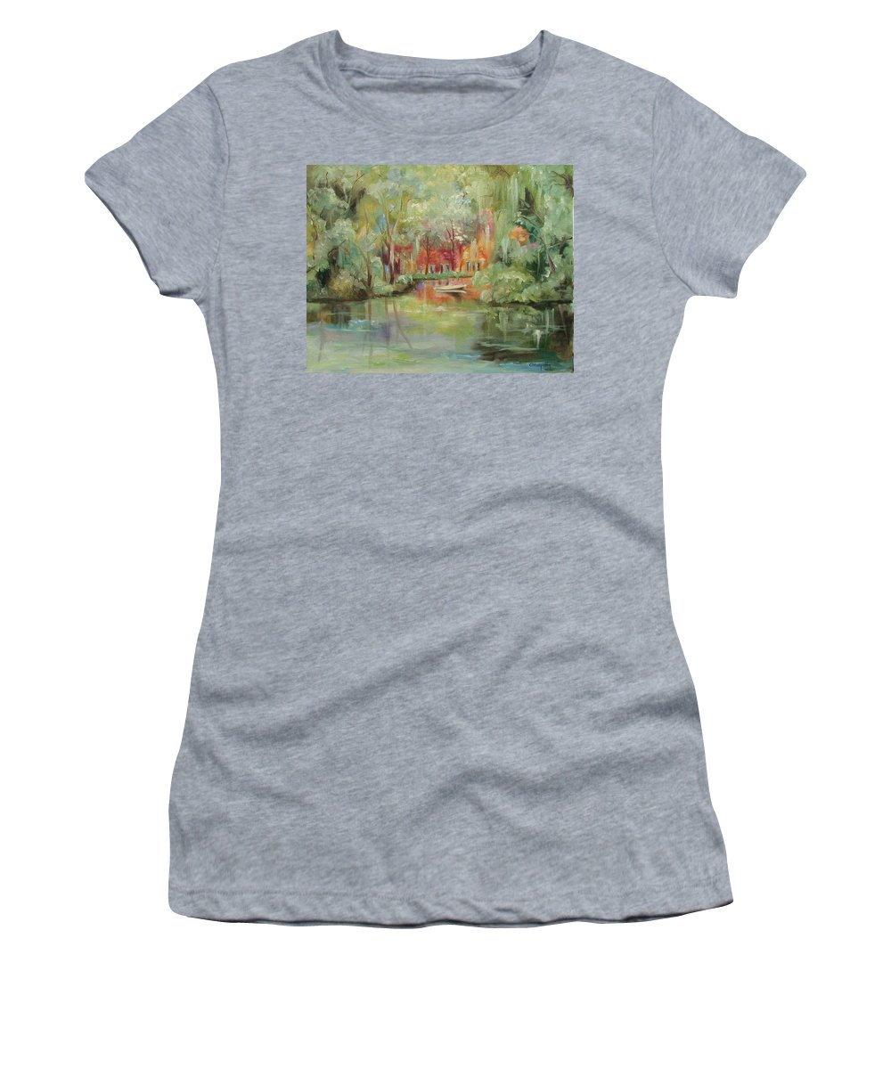 Bayou Women's T-Shirt (Athletic Fit) featuring the painting On A Bayou by Ginger Concepcion