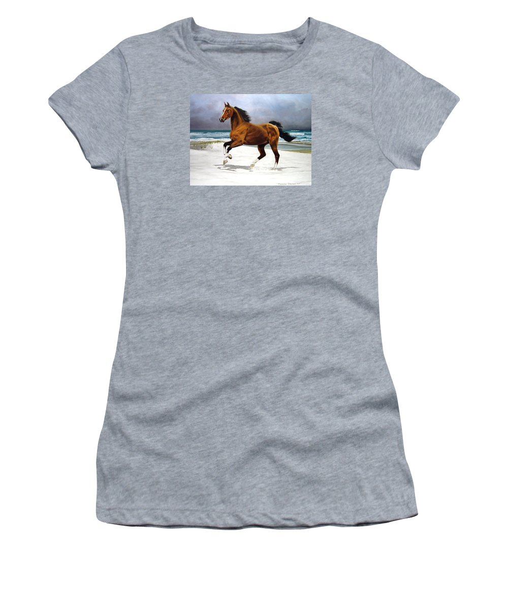 Horse Women's T-Shirt (Athletic Fit) featuring the painting On The Beach by Marc Stewart