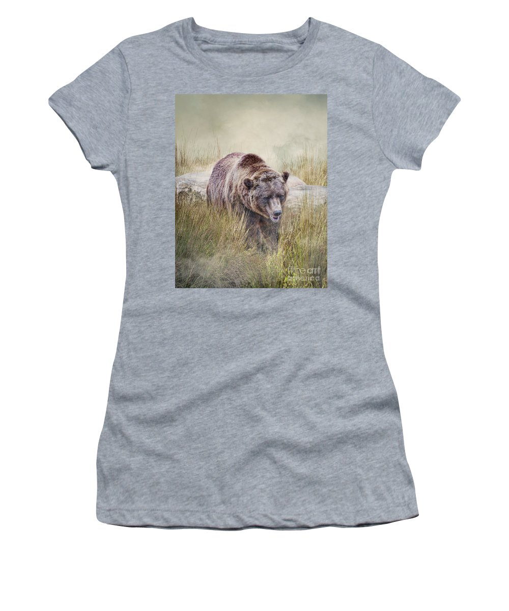 Bear Women's T-Shirt (Athletic Fit) featuring the photograph On The Prowl by Jan Galland
