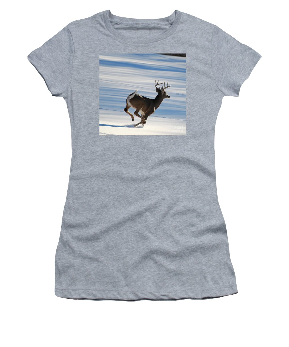 Deer Women's T-Shirt (Athletic Fit) featuring the photograph On The Run by Todd Hostetter