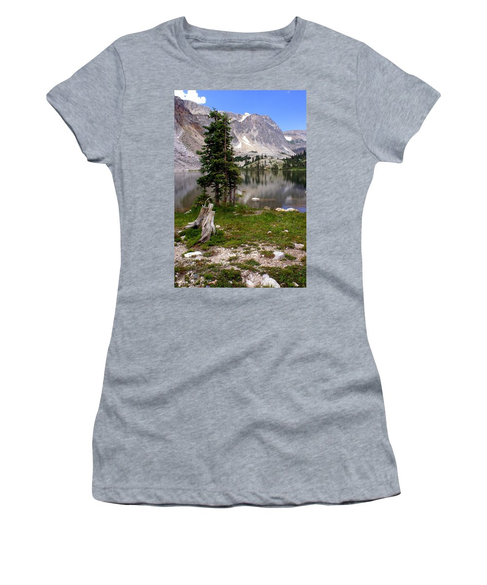 Snowy Mountains Women's T-Shirt (Athletic Fit) featuring the photograph On The Snowy Mountain Loop by Marty Koch