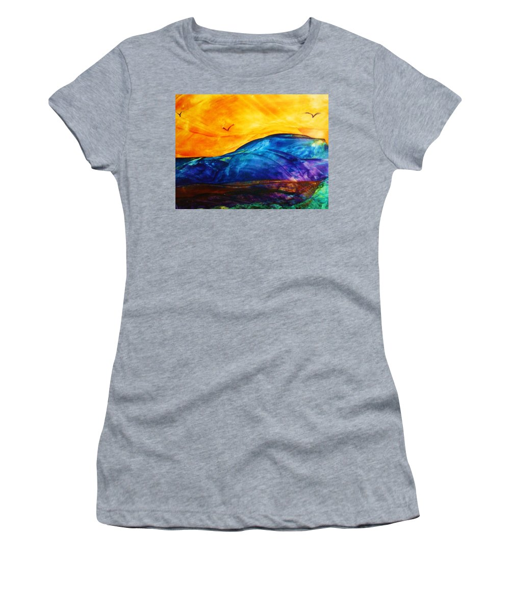 Landscape Women's T-Shirt (Athletic Fit) featuring the painting One Fine Day by Melinda Etzold