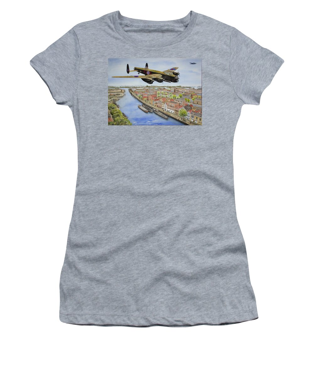 Lancaster Bomber Women's T-Shirt featuring the painting Operation Manna II by Gale Cochran-Smith