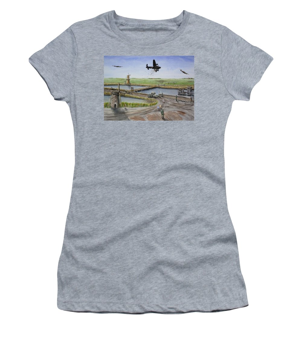 Lancaster Bomber Women's T-Shirt (Athletic Fit) featuring the painting Operation Manna IIi by Gale Cochran-Smith